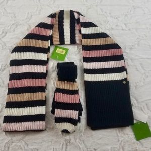 Kate Spade Stripe Mittens and Scarf Peony/Black